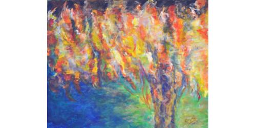 Arbre de vie en feu avec cadre--  VENDU